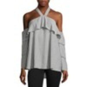 Libby Edelman Off Shoulder Tiered Sleeve Blouse  L
